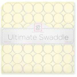 Фланелевая пеленка для новорожденного SwaddleDesigns Пастель круги желтая