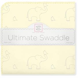 Фланелевая пеленка для новорожденного SwaddleDesigns Слоники с птичками желтая