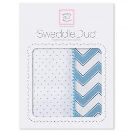 Набор пеленок SwaddleDesigns Swaddle Duo Blue Classic Chevron