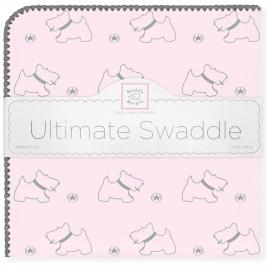 Пеленка фланель для новорожденного SwaddleDesigns Ultimate Gray Doggie Pstl Pink