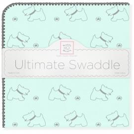 Пеленка фланель для новорожденного SwaddleDesigns Ultimate Gray Doggie Pstl SeaCrystal