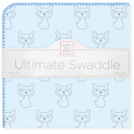 Пеленка фланель для новорожденного SwaddleDesigns Ultimate Gray Fox Blue