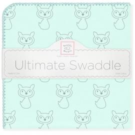 Пеленка фланель для новорожденного SwaddleDesigns Ultimate Gray Fox SeaCrystal