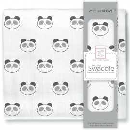 Пеленка муслиновая SwaddleDesigns Black Panda Face